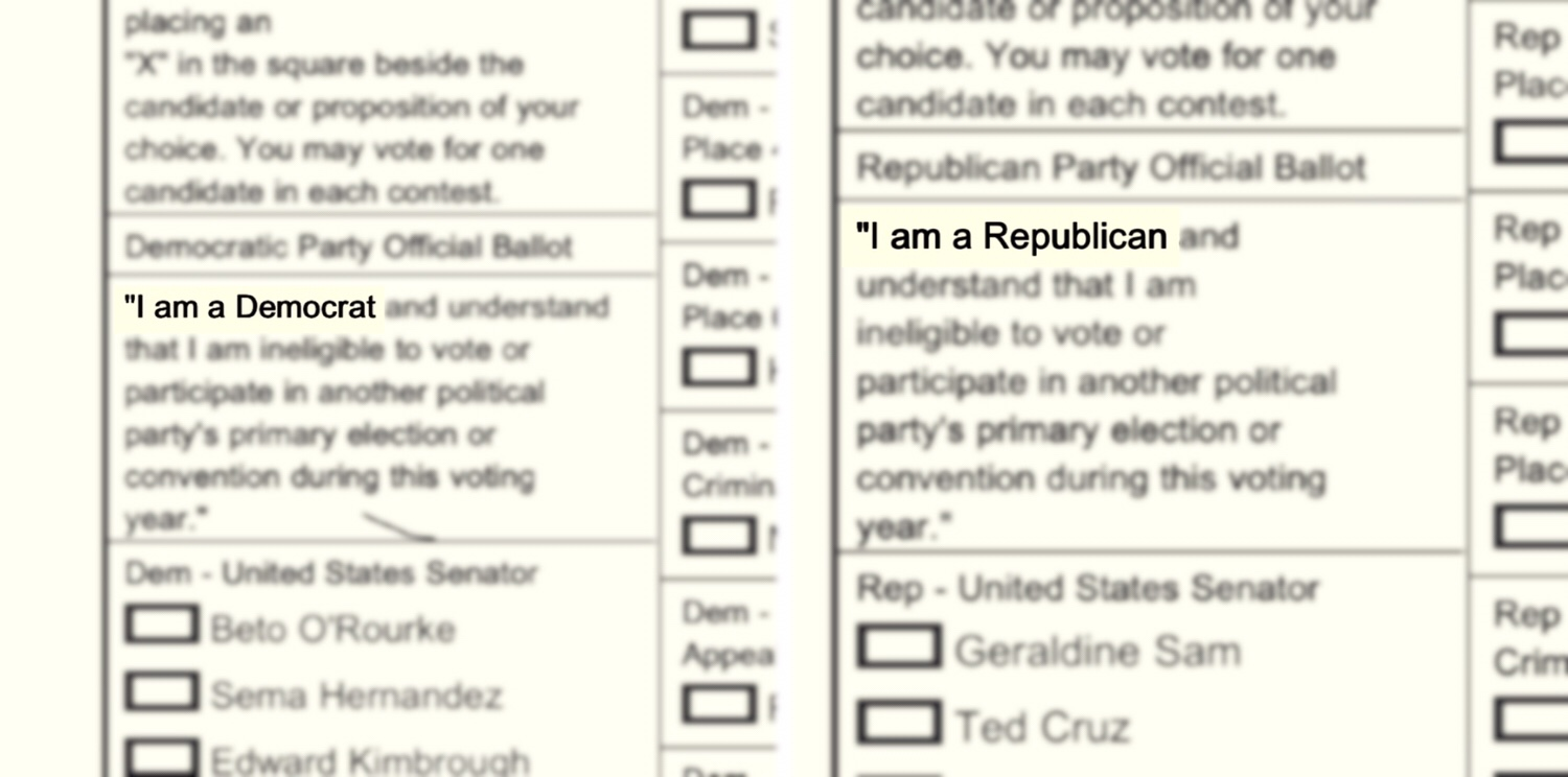 Texas primary election ballots both begin with statements declaring party identity